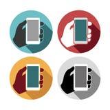 Eingestellte Ikonen des Handys in der Hand Stockbilder