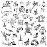 Eingestellte Skizze der Geschäfts-Ideenkonzept-Gekritzel Ikonen Stockfotos