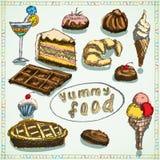 Eingestellte Skizzenhand des Lebensmittels Wüsten gezeichnet gefärbt Stockbilder