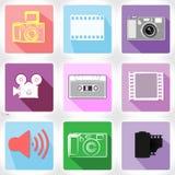 Eingestellte Vektorillustration APP-Ikone Medien Lizenzfreie Stockfotos