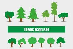 Eingestellte Vektorillustration der Bäume Ikonen Stockfoto