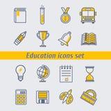 Eingestellte Vektorillustration der Bildung Ikonen Stockfotos