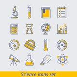 Eingestellte Vektorillustration der Wissenschaft Ikonen Stockfoto