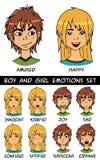 Eingestellte Vektorillustration des Jungen und des Mädchens Gefühle Stockfotos