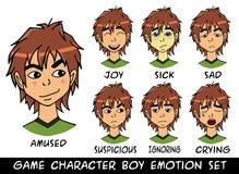 Eingestellte Vektorillustration des Spielcharakterjungen Gefühle Stockfotos