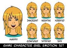 Eingestellte Vektorillustration des Spielcharaktermädchens Gefühle Stockbilder