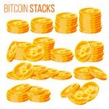 Eingestellter Vektor Bitcoin Stapel Schlüsselwährung Virtuelles Geld Lokalisierte flache Karikaturillustration Stockbilder