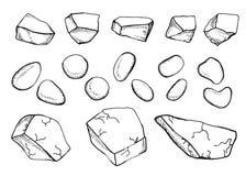Eingestellter Vektor der Steine Skizzen Stockbilder