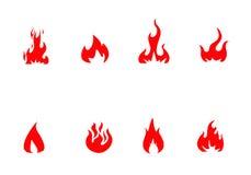 Eingestellter Vektor des Feuers Ikonen Stockfotografie