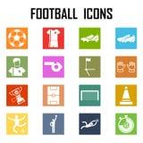 Eingestelltes flaches Design des Fußballs Ikonen Abbildung Stockfotografie