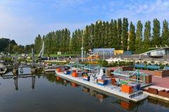 Eingestufte Replik des Hafens von Rotterdam, von Euromast-Turm und von Erasmus Bridge stockbild