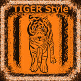 Eingetragenes Warenzeichen mit Tiger Tigeraufkleberdesign mit Hand gezeichnetem Tiger f Stockfotografie