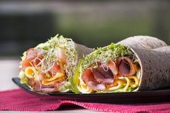 Eingewickelte Tortillasandwichrollen lizenzfreies stockfoto
