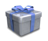 Eingewickeltes blaues Geschenk 3D v1 Stockfoto