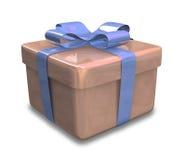 Eingewickeltes braunes blaues Geschenk 3D Lizenzfreie Stockfotos