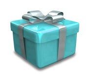 Eingewickeltes hellblaues Geschenk 3D Lizenzfreie Stockfotografie