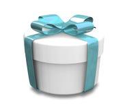 Eingewickeltes weißes und blaues Geschenk (3D) Lizenzfreies Stockbild