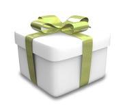 Eingewickeltes weißes und grünes Geschenk (3D) Stockfoto