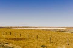 Eingezäuntes Ackerland nahe einem Alkalisee Lizenzfreie Stockfotografie