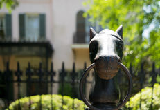 Einhängender Beitrag des Kopfes des Form-eisernen Pferds Stockbild