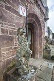Einhörner an Delgatie-Schloss in Schottland Stockfoto