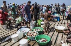 Einheimische betrachten spätesten Fang auf Pier bei Santa Maria auf Salz, Kap-Verde Lizenzfreies Stockfoto