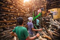 Einheimische nahe dem heiligen Ganges wogen für Verkaufsholz für Verbrennung lizenzfreies stockbild
