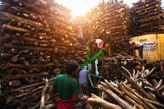 Einheimische nahe dem heiligen Ganges wogen für Verkaufsholz für Verbrennung stockbild