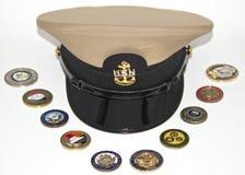 Einheitlicher Hut eines US-Marine-Leiters Lizenzfreie Stockfotos