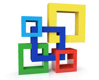 Einheits-Konzept mit fünf Rahmen Stockbild