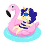 Einhorn mit aufblasbarem Ring des Flamingos Vektor Illustartion stock abbildung