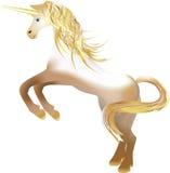 Einhorn mit dem goldenen Horn Lizenzfreie Stockfotografie