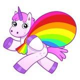Einhorn mit Regenbogentasche lizenzfreie abbildung