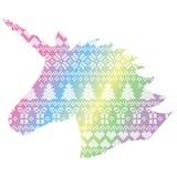 Einhorn in nordischer Artwinter nähendem Weihnachtsnahtlosem Muster einschließlich Schneeflocken, Herzen, Geschenk, Schnee Stockfotos