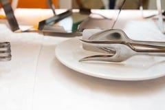 Einig Scheuern und großer Teller auf einem Bankettisch lizenzfreie stockfotografie