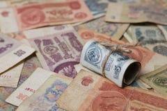 Einige alte sowjetische Banknoten Stockbilder