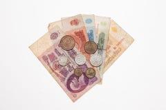 Einige alte sowjetische Banknoten und Münzen Stockfoto