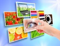 Einige Bilder auf Hintergrund Stockfoto