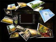 Einige Bilder, die um eine Kamera strömen lizenzfreie abbildung