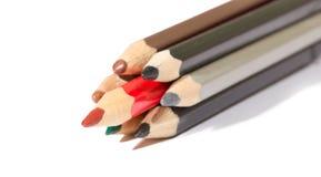 Einige Bleistifte und ein Rot unter ihnen Stockbild