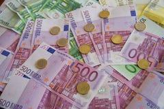 Einige Eurobanknoten Stockfoto