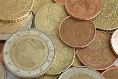 Einige Euromünzen Stockfotos