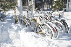 Einige Fahrräder in einem Gestell bedeckt mit Schnee stockfotos