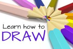 Einige Farbbleistifte mit Text lernen, wie man zeichnet Stockfotos