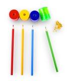 Einige farbige Bleistifte von verschiedenen Farben Lizenzfreies Stockfoto