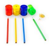 Einige farbige Bleistifte von verschiedenen Farben Lizenzfreie Stockbilder