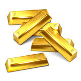 Einige goldene Ziegelsteine auf weißem Hintergrund lizenzfreie abbildung