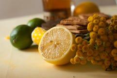 Einige Kekse und Waffeln, reife Zitronen und Kalke und archivierte Sommerblumen auf einer Leinenoberfläche Lizenzfreie Stockbilder