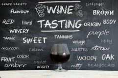 Einige Konzepte auf einer Tafel während einer Weinprobe kursieren Lizenzfreies Stockbild