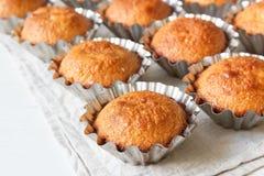 Einige Muffins in der Backform Lizenzfreies Stockfoto